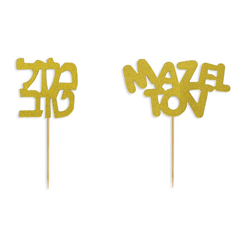 Mazel Tov Gold Cake Toppers