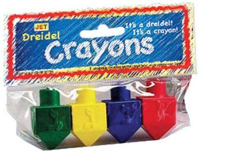 4 Dreidel Crayons - Blue, Yellow, Orange, Red