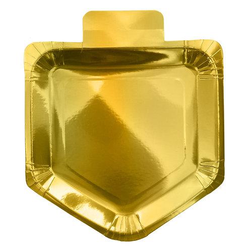 Guld Dreidel folieret Paptallerken - Chanukah Gold Dreidel Foiled Paper Plate