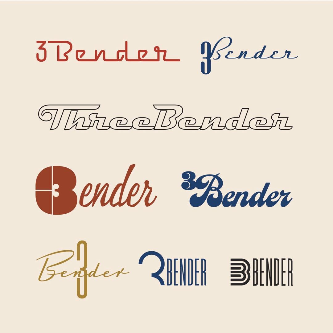Preliminary logo exploration for 3 Bender Guitars, 2020.