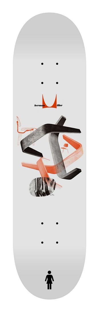 """Concept skateboard deck designs : Herman Miller """"Archive"""" series Girl Skateboards X Herman Miller, 2018."""