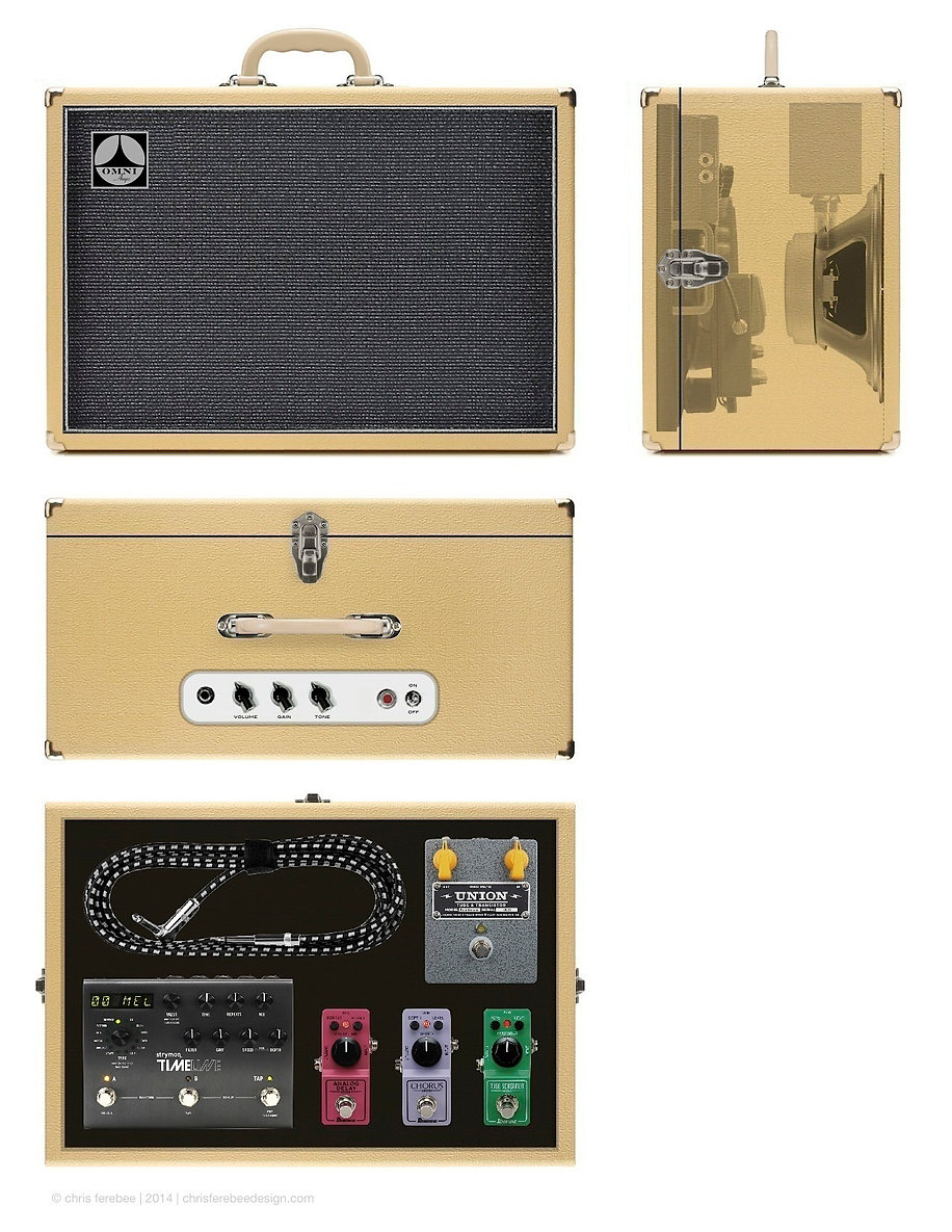 Concept for small 5w guitar amplifier with built-in/removable pedalboard. design: chris ferebee, 2014
