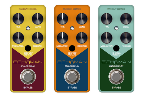 Preliminary iterations - graphics refresh for XVive's EchoMan delay pedal, 2019