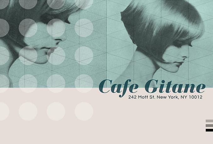Postcard design for NYC restaurant, Cafe Gitane, design: chris ferebee