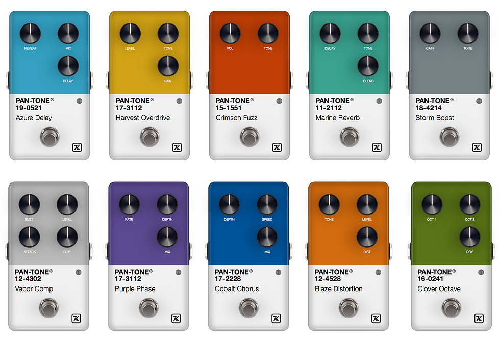 Keeley Pan-Tone effects pedal series, design by Chris Ferebee / Futura Guitars