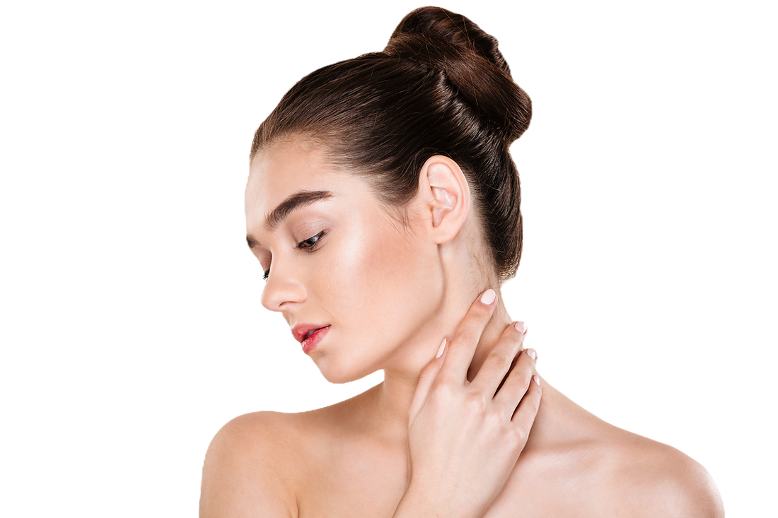 portrait-of-gentle-young-woman-with-healthy-body-touching-her-neck-posing-with-face-downwa