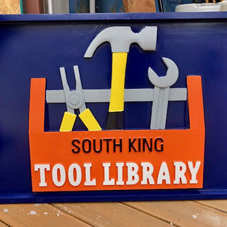 South King Tool Library wooden sign