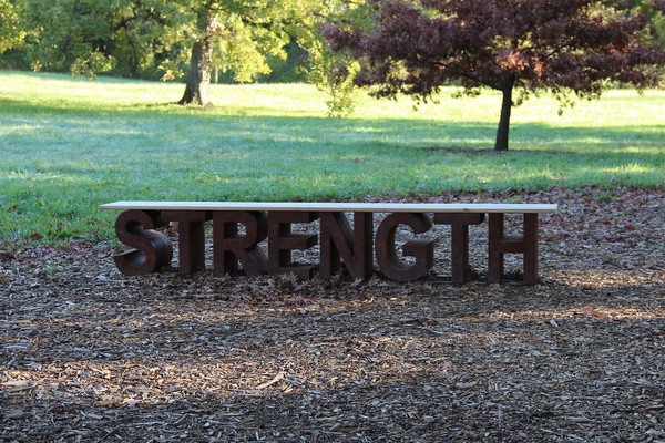 A maufactured sign that says STRENGTH lies on woodchips in a park