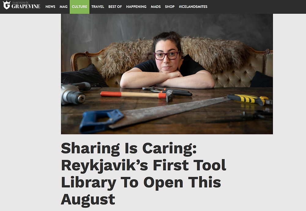 "webpage with the article headline ""Sharing Is Caring: Reykjavik's first Tool Library To Open This August"""