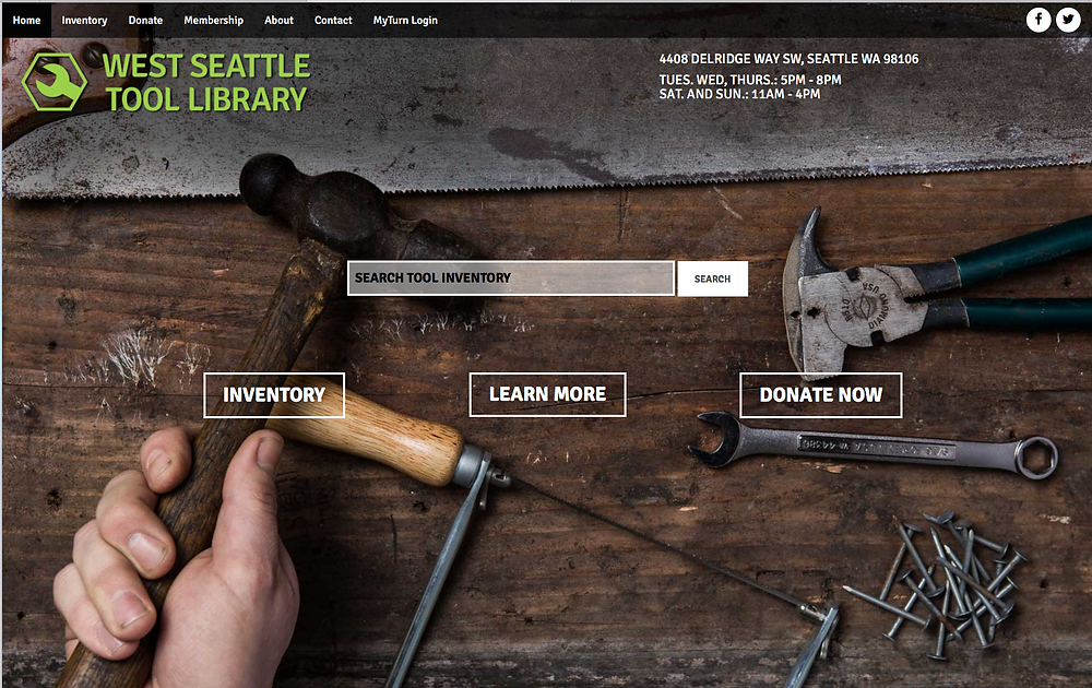 home page for West Seattle Tool Library