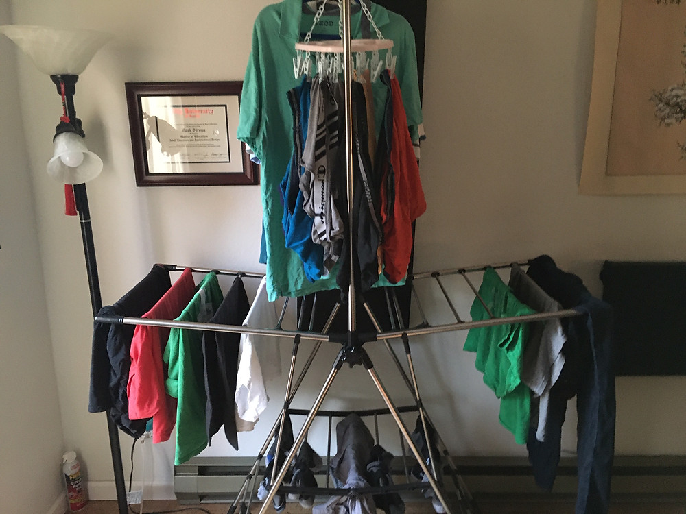 Air-drying laundry on a rack