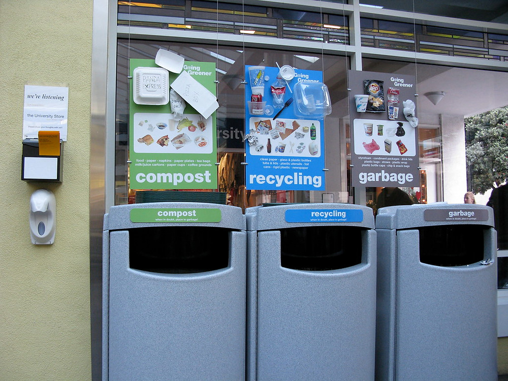Three compost recycle garbage bins