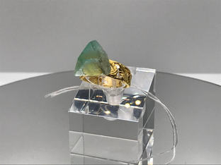 Fluorite With Golden Leaves Crystal Ring RESERVED 37€