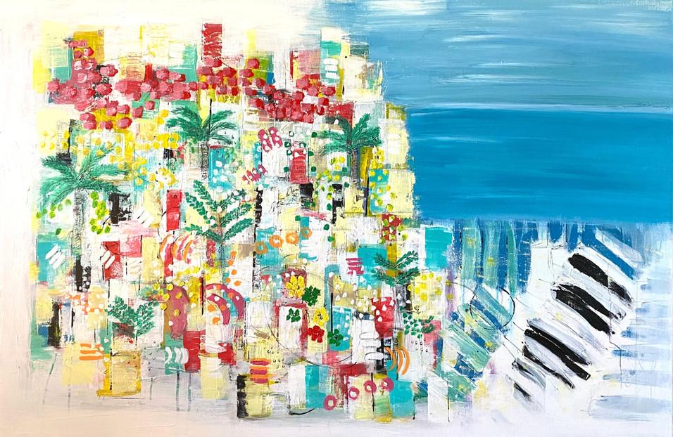 """Dinner Under The Lemon Tree"" Original painting 80x120 511€"