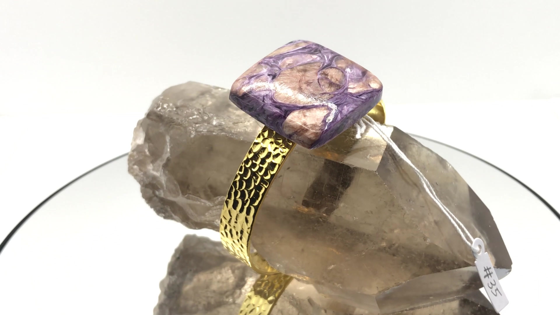 Charoite & Tinaksite Crystal Cuff (mov)