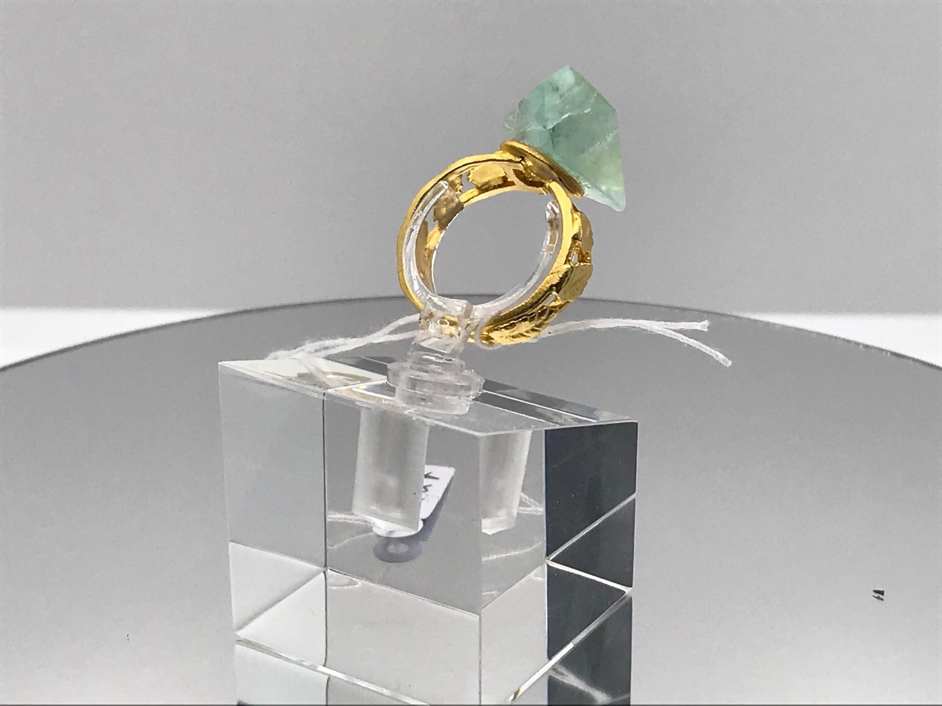 Fluorite Crystal Ring With Golden Leaves