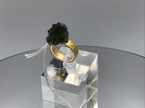 Moldavite Crystal Ring