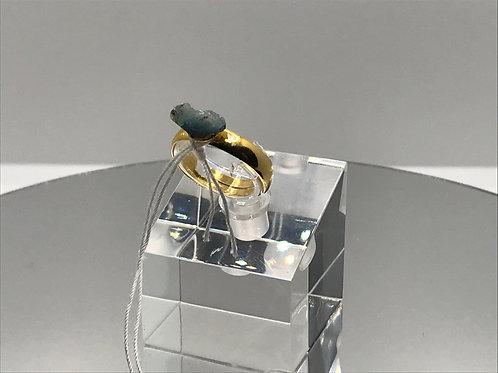 Hydrophane Opal  Crystal Ring - Dark