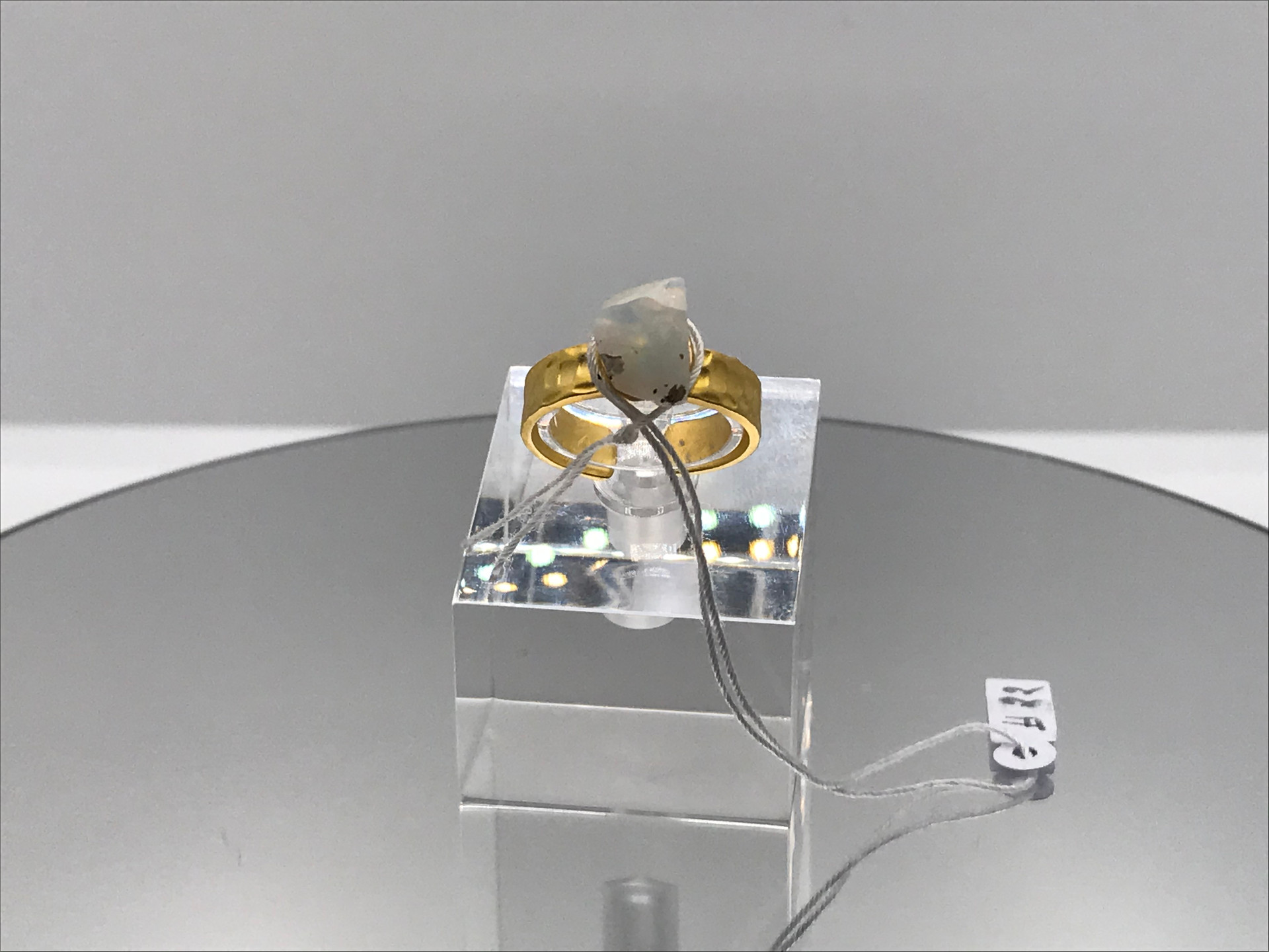 Hydrophane Opal Crystal Ring - White