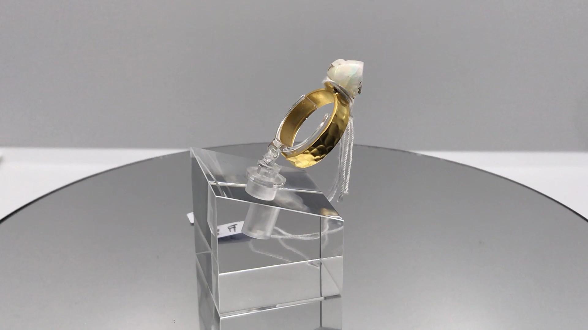 Hydrophane Opal Crystal Ring  - White (m
