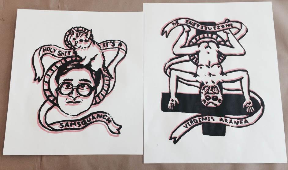 """De Institutione De Virginis Aranea"" (right) and ""Holy Shit"" (left) double print"