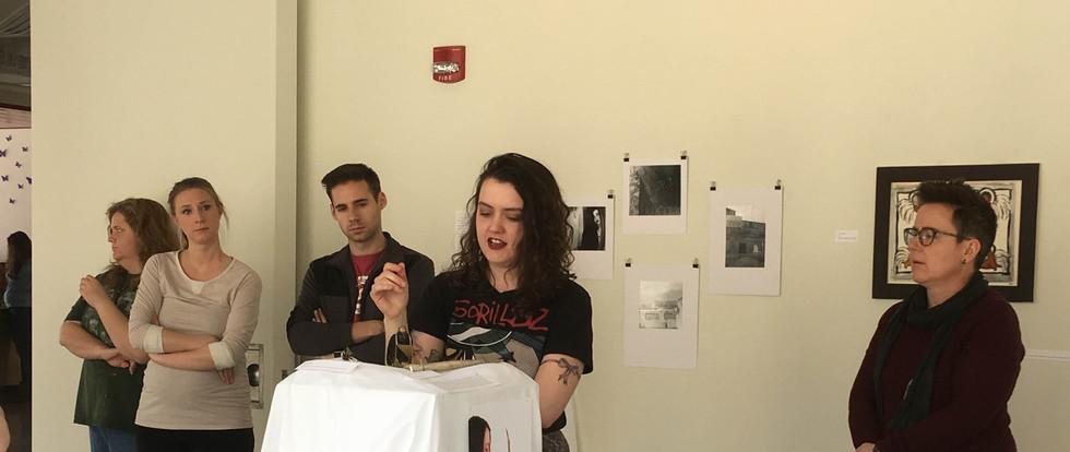 Photos from an artist talk.