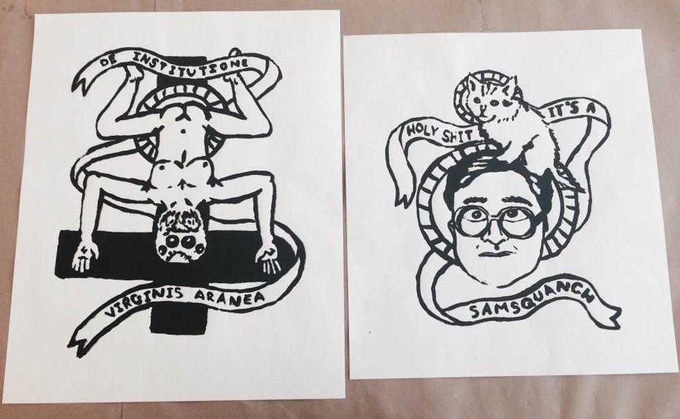 """De Institutione De Virginis Aranea"" (left) and ""Holy Shit"" (right)"
