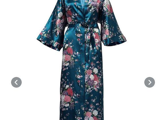 Lang silke morgenkåpe/kimono- Grønn