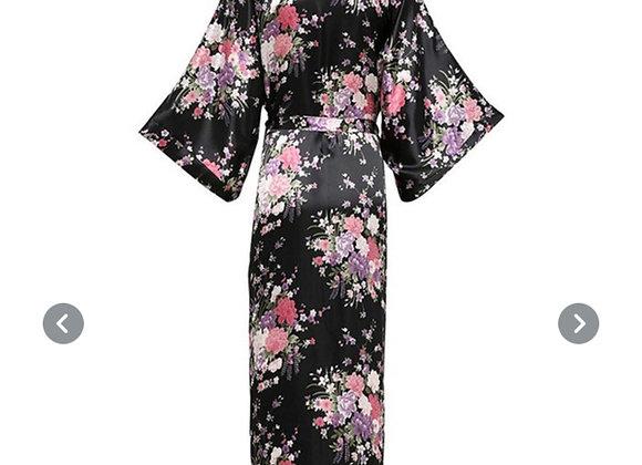 Lang silke morgenkåpe/kimono- Sort