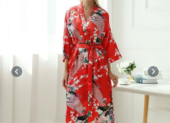 Vakker utført silke kimono-Rød
