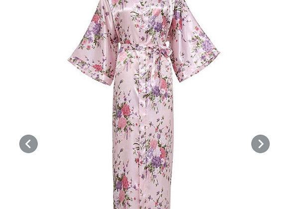 Lang silke morgenkåpe/kimono- Rosa