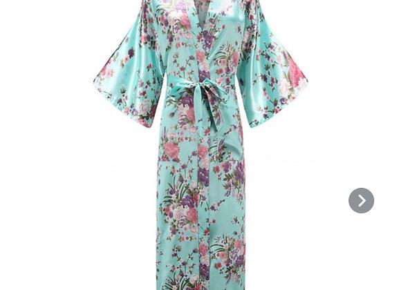Lang silke morgenkåpe/Kimono- Lyse blå