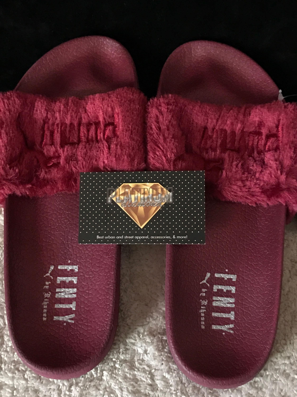 the latest 51ffa 9c12e Burgundy Fenty x Puma Slides | platinumdiamond