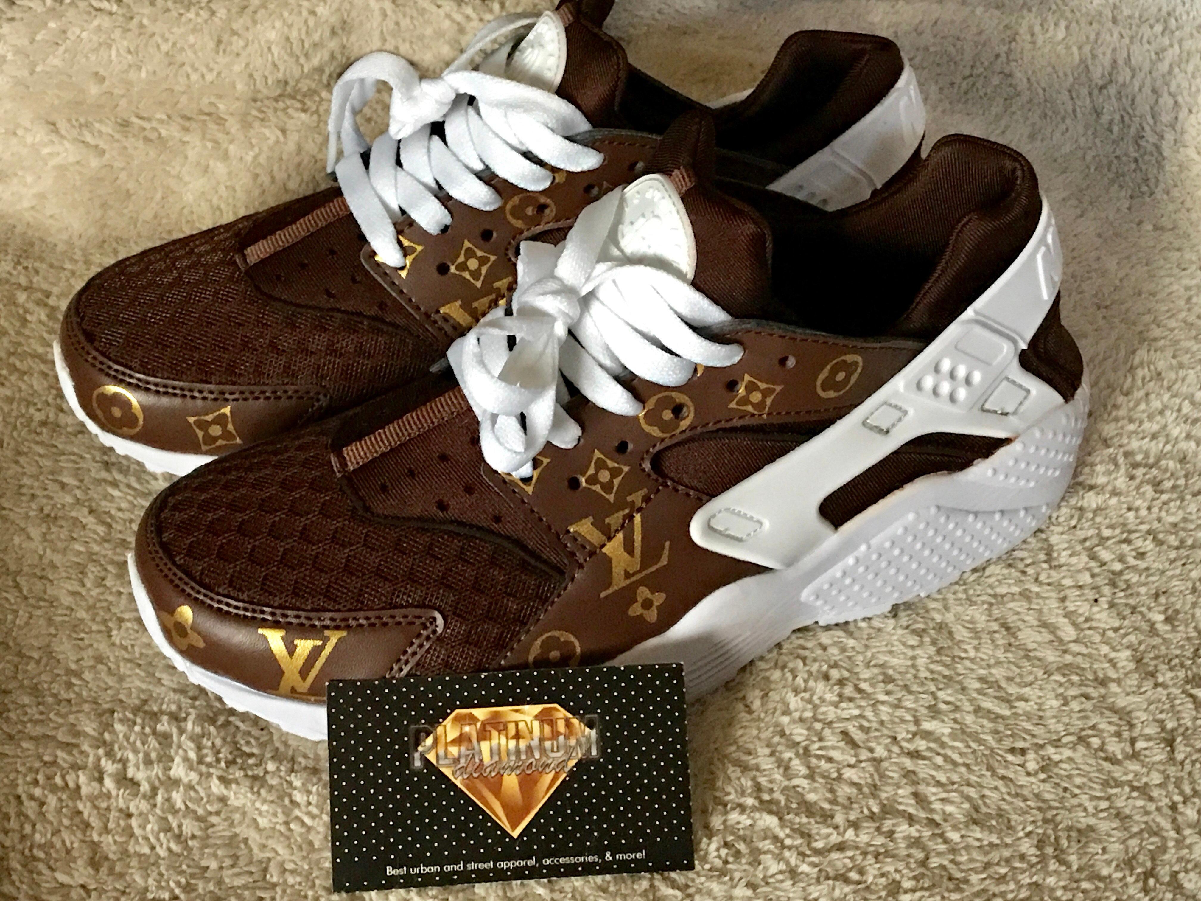 sports shoes d20fa f2a3c Brown LV Custom Huaraches   platinumdiamond