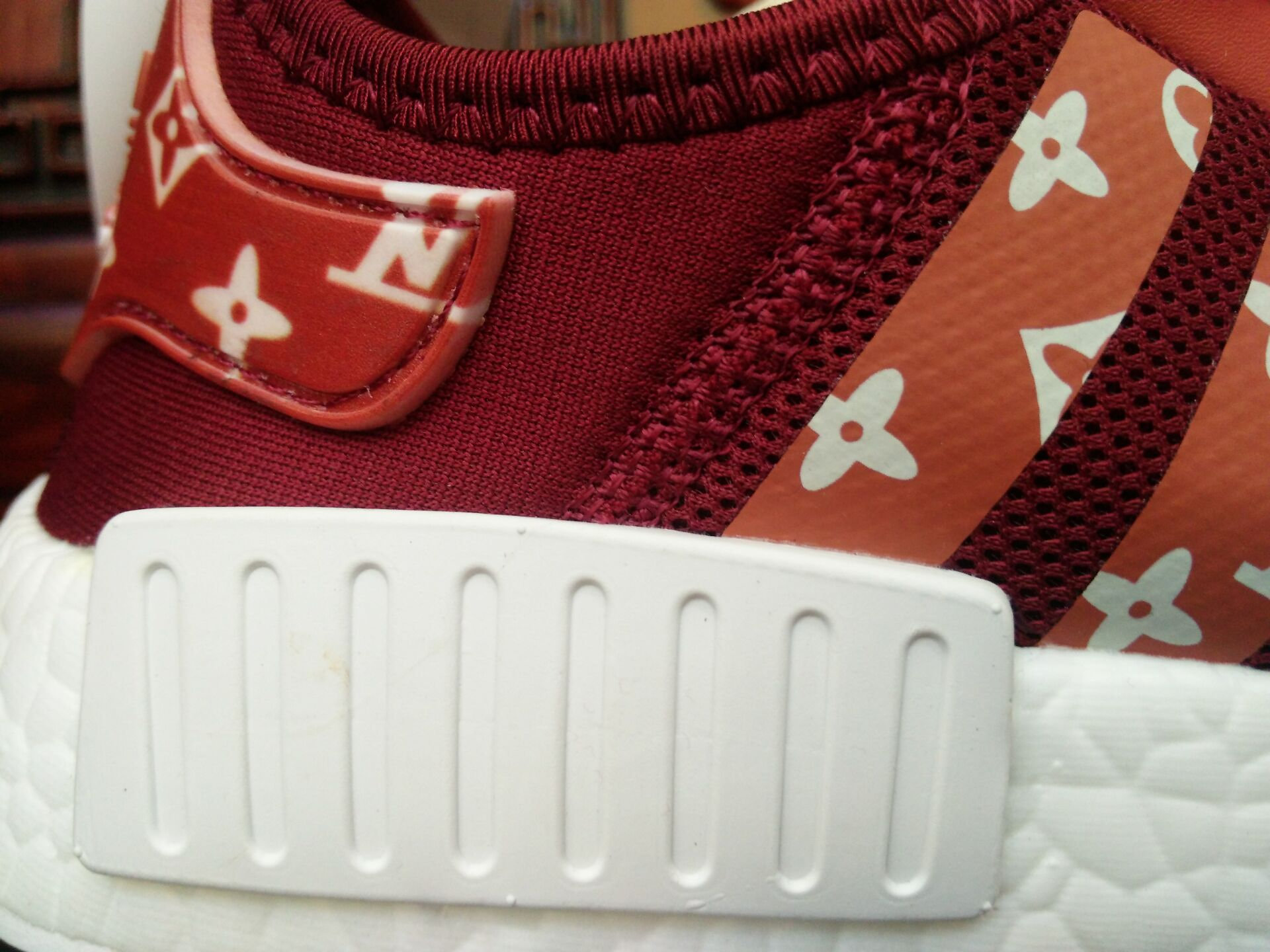 Buy Cheap Supreme x LV x Adidas NMD R1 Red Shoes Sale 2018 a942e155b73