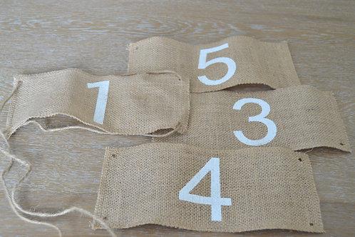 Numéros de table 1-12 en toile de Jute