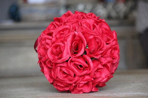 Boule de fausses fleurs (rouge/blanc)