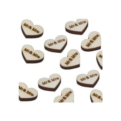 """Confettis coeur en bois """" Mr & Mrs """""""