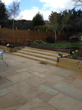 Sandstone patio and built in steps