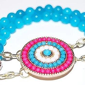 Gold Link Circular Charm Bead Bracelet