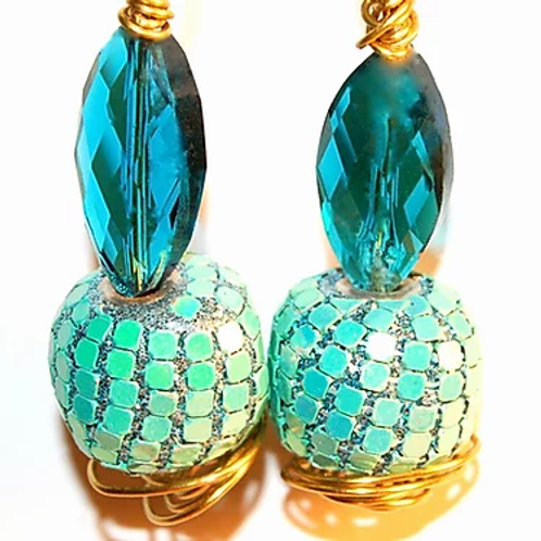 Water Blue Twirl Earrings