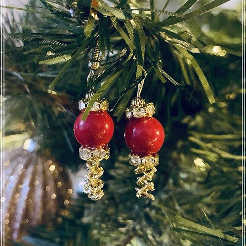Crystal Beaded Ball Link Earrings