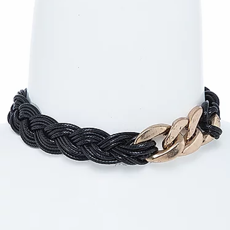 Black Leather Braid Gold Link Choker