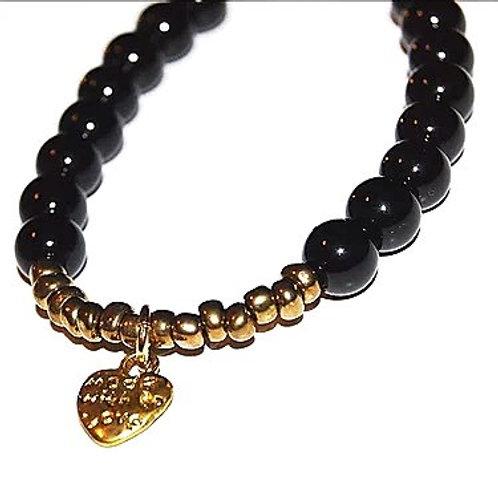 Beaded Heart Charm Bracelet