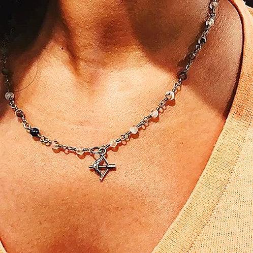 Bow & Arrow Rosary Necklace