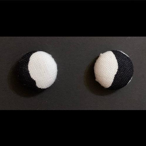 THIS-BlackSideWhite Stud Earrings