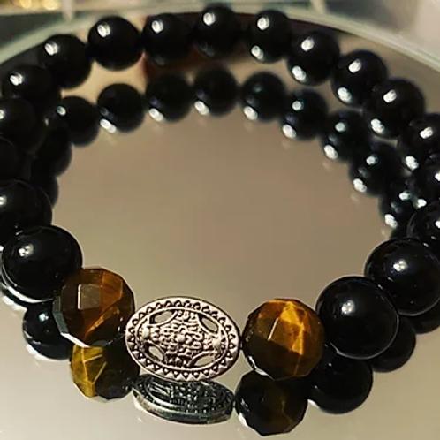 Men's Cross Wheel Stone Bracelet