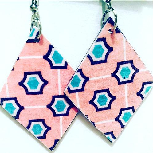 Pink Frame Drop Earrings