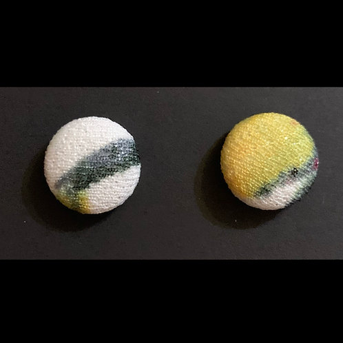 THIS-Gray/white/Yellow Stud Earrings