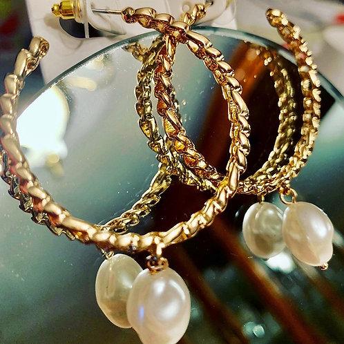 Link Hoop Drop Earrings